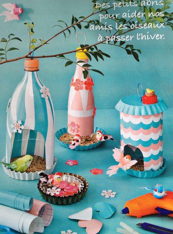 manualidades de pajareras con botellas plásticas