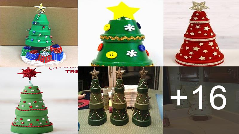 árboles navideños con macetas
