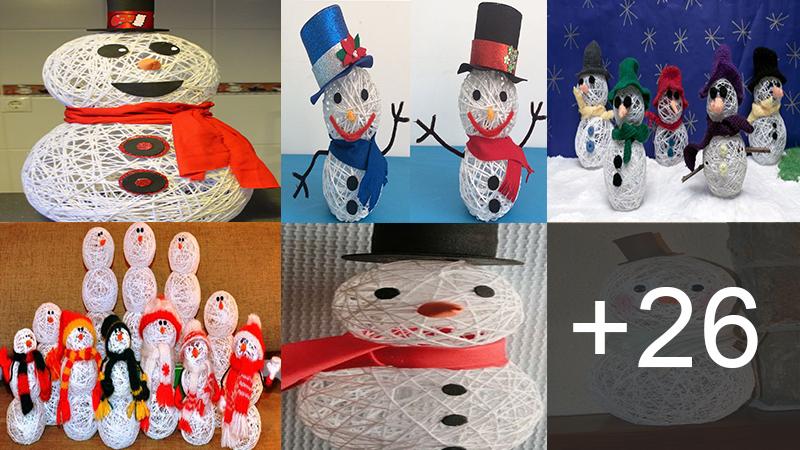 Muñecos de nieve con lana y pegamento