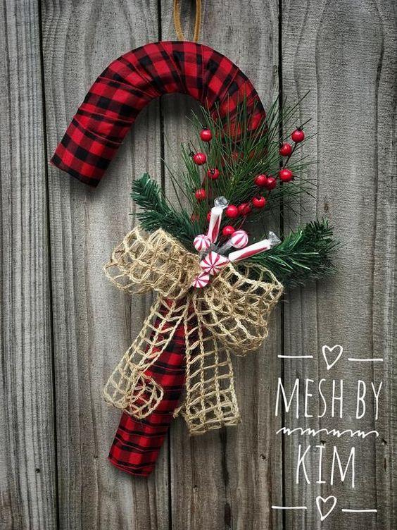 Aprende hacer bastón de caramelo de cartón navideñas
