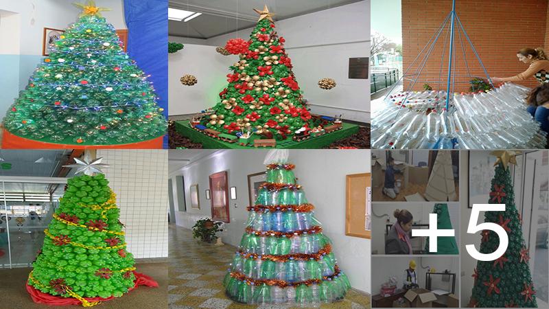 Hacer árbol de navidad con botellas plásticas