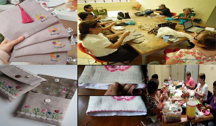 hacer carteras personalizadas para maquillaje bordadas